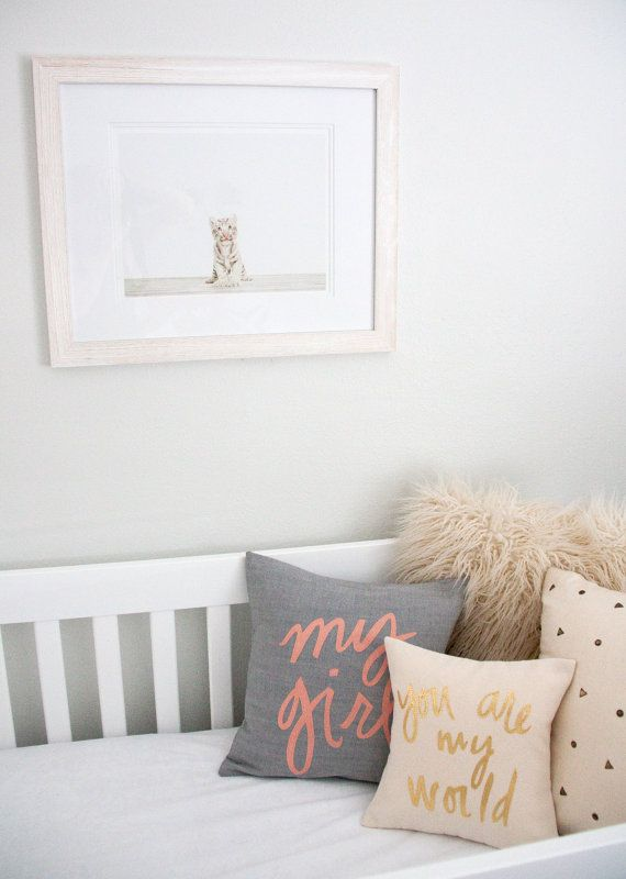 My Girl Pillow Grey and Coral by BrightJuly on Etsy