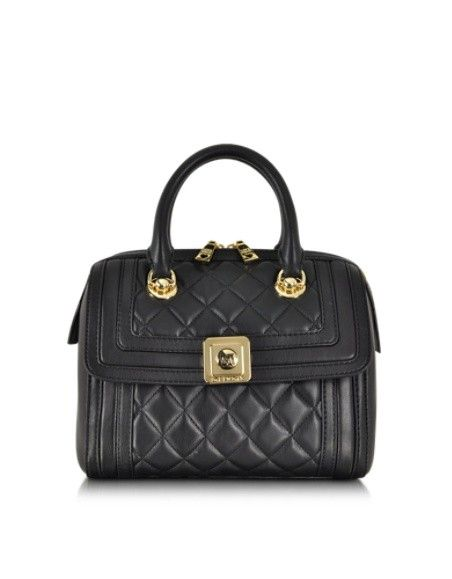 LOVE MOSCHINO BLACK QUILTED ECO LEATHER SATCHEL W/SHOULDER STRAP