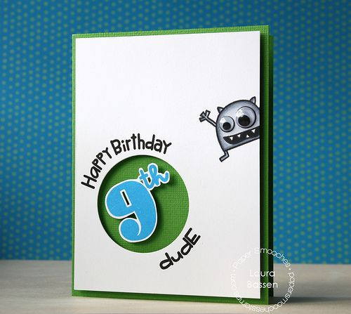 cool boy birthday card by laura bassen