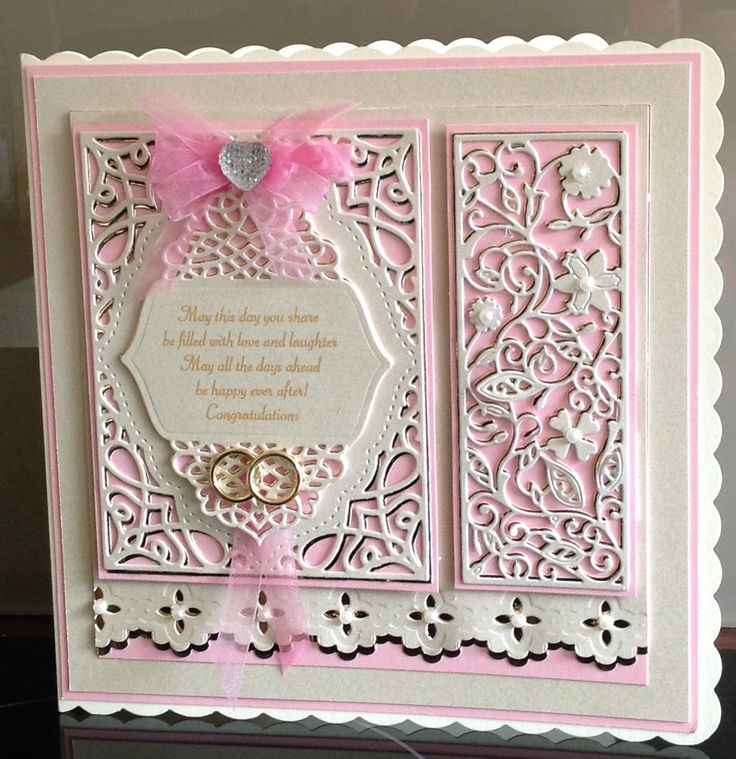 Wedding card cut die layers twice one in cream and one in gold and twisted slightly so gold shows through spell binders and free tattered lace panel from magazine