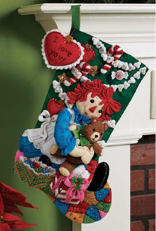 Bucilla Felt Applique Raggedy Ann CHRISTMAS MORNING #stocking #christmas #decor