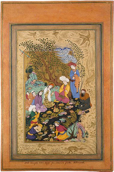 Convivial Party  Riza-i Abbasi.  Gouache and gold. 26x16.7 cm  Iran. Safavid Dynasty. 1612