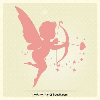 Cupid silhouettes vector