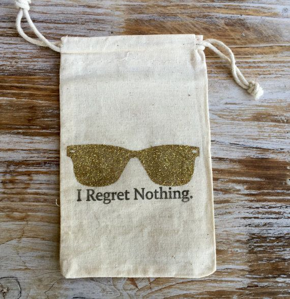 These 5 x 7 cotton drawstring bags are hand stamped with gold glitter sunglasses…