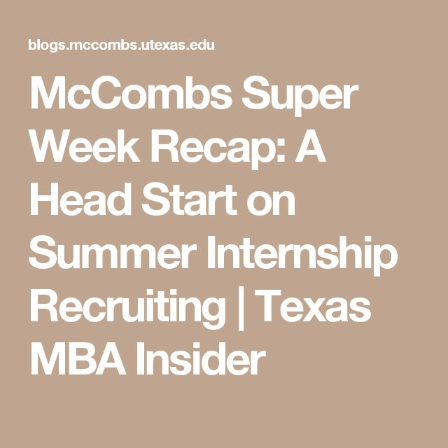 McCombs provides a platform for success during recruitment: week long study-groups to prepare for interviews followed by week long on-campus interviews with employers; all during Christmas break so I can dedicate 100% to recruitment.