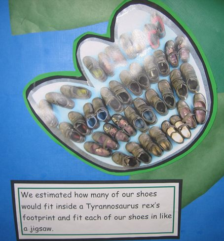 Comparing ourselves to dinosaurs.  A simple dinosaur footprint measuring activity for EYFS and Year 1.