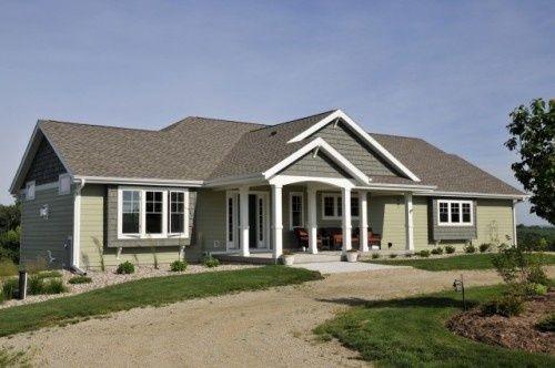 Ranch Style Home Plans With Double Story Flat Roof House: Window Bump Outs, Front Porch