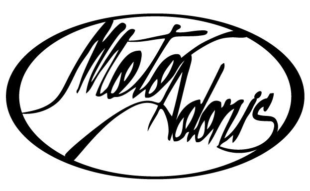Het logo van www.motoadonis.com, voornamelijk bedoeld voor hard copy toepassingen.
