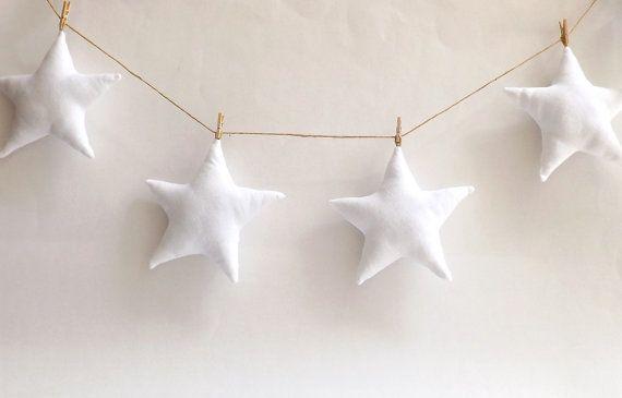 White Star Garland Baby Bunting New Baby Gift by LulueFrufru
