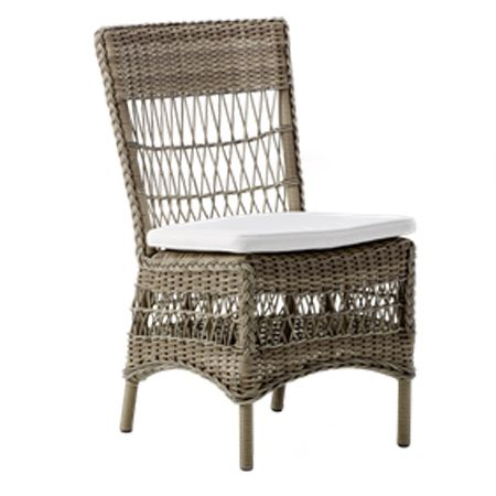 Marie chair. A romantic design and totally weather proof. This item is hand woven with a Synthetic cane fiber (Polyethylene based) which is tear proof, colorfast, resistant to UV light and 100 % recyclable. The frame is made of Aluminum and is powder coated. The combination of both materials makes each piece totally weatherproof. The furniture can be rinsed with a hose pipe...  Material:Polycane / Aluminum Size:W: 520 D: 630 H: 860