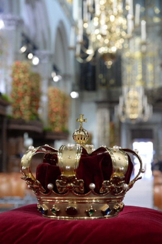 The regalia of Crown of State lie at the credence-table prior to the inauguration of King Willem Alexander of the Netherlands at Nieuwe Kerk on 30 April 2013