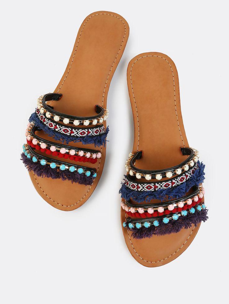 Shop Tribal Pop Bejewelled Slides BLACK online. SheIn offers Tribal Pop Bejewelled Slides BLACK & more to fit your fashionable needs.