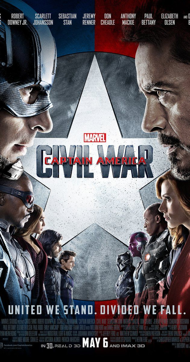 Directed by Anthony Russo, Joe Russo.  With Tom Holland, Scarlett Johansson, Elizabeth Olsen, Chris Evans. Political interference in the Avengers' activities causes a rift between former allies Captain America and Iron Man.