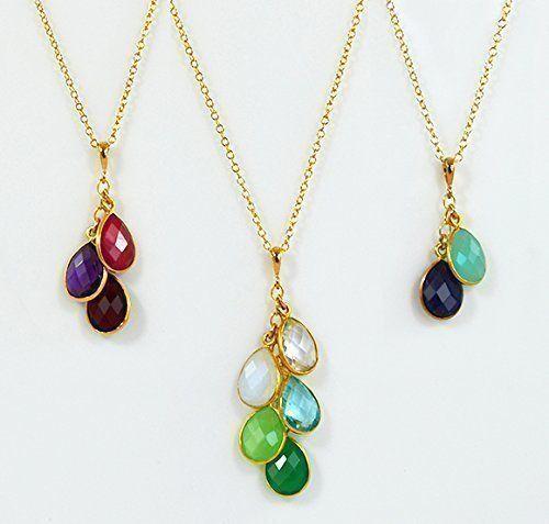 Personalized Birthstone Mother's Necklace, Custom Initial Jewelry, Cascade Necklace, Family Necklace, Grandma Necklace, Small Teardrop Gemstone Cascade