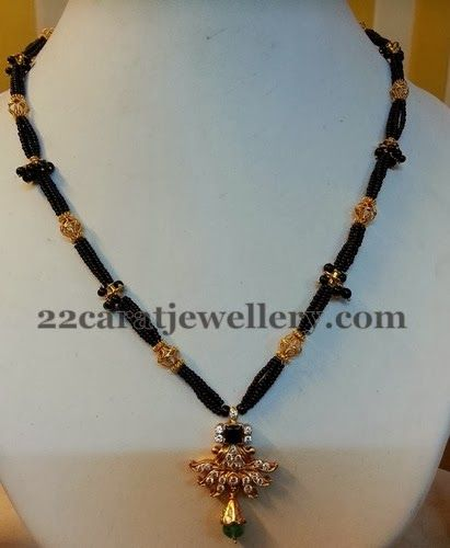 Jewellery Designs: Black Beads Set with CZ Pendant