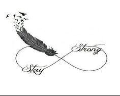 Faire un tatouage infini plume oiseau tatoo pinterest - Stay strong tatouage ...