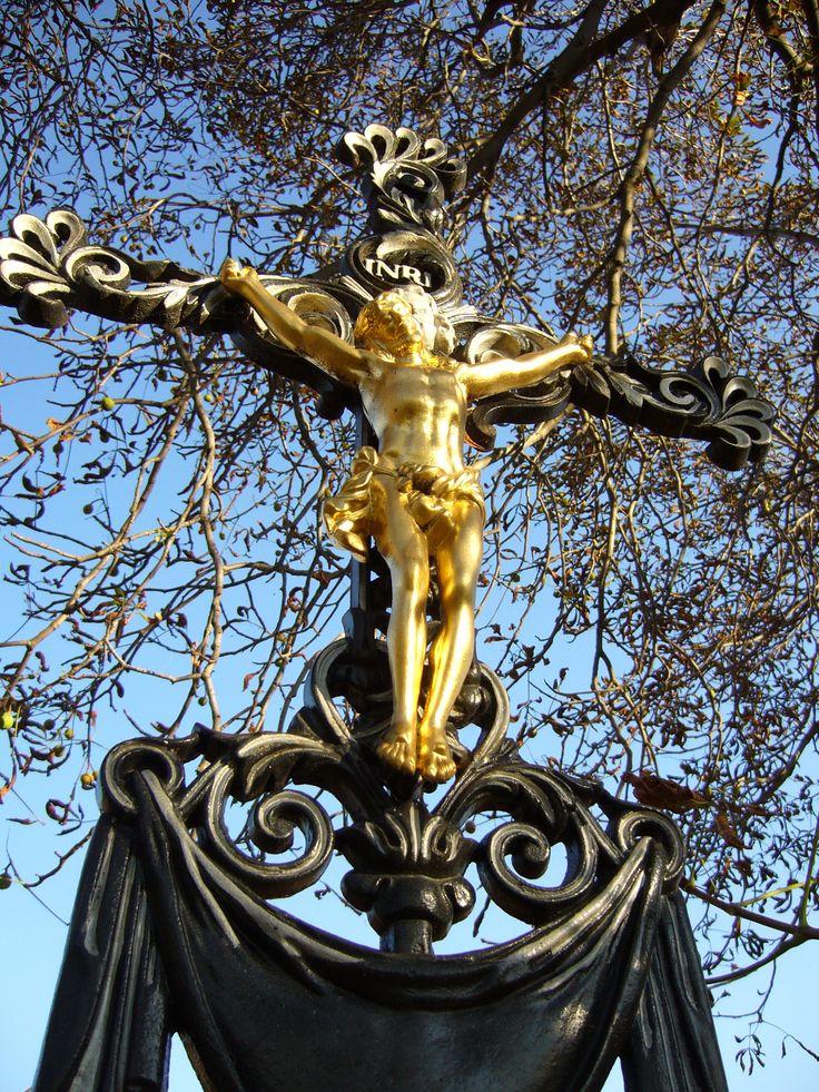 Gold Jesus on a cross near Babice (distr. Třebíč, south Moravia)