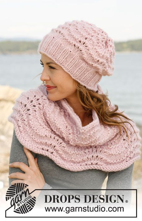 "Set consists of: Knitted DROPS hat and neck warmer with wave pattern in ""Eskimo"". ~ DROPS Design"
