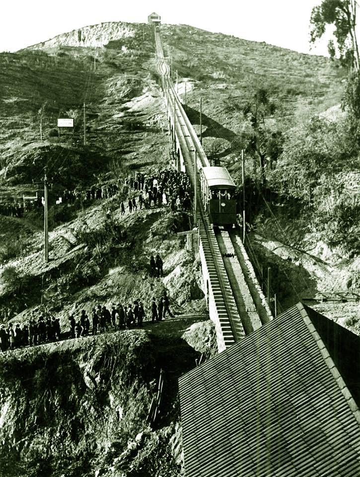 Inauguración del Funicular del cerro San Cristobal de Santiago en 1929.