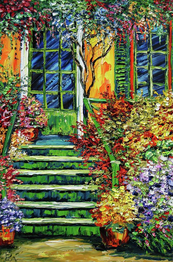 Monet's Giverny Oil Painting Painting by Beata Sasik - Monet's Giverny Oil Painting Fine Art Prints and Posters for Sale