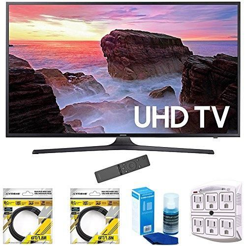 """Samsung 65"""" 4K Ultra HD Smart LED TV 2017 Model (UN65MU6300FXZA) with 2x 6ft High Speed HDMI Cable, Screen Cleaner for LED TVs & Stanley 6-Outlet Surge Adapter with Night Light"""