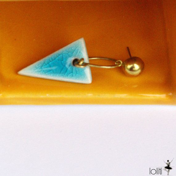 FREE SHIPPING exclusive ceramic turquoise triangle stud by loliti