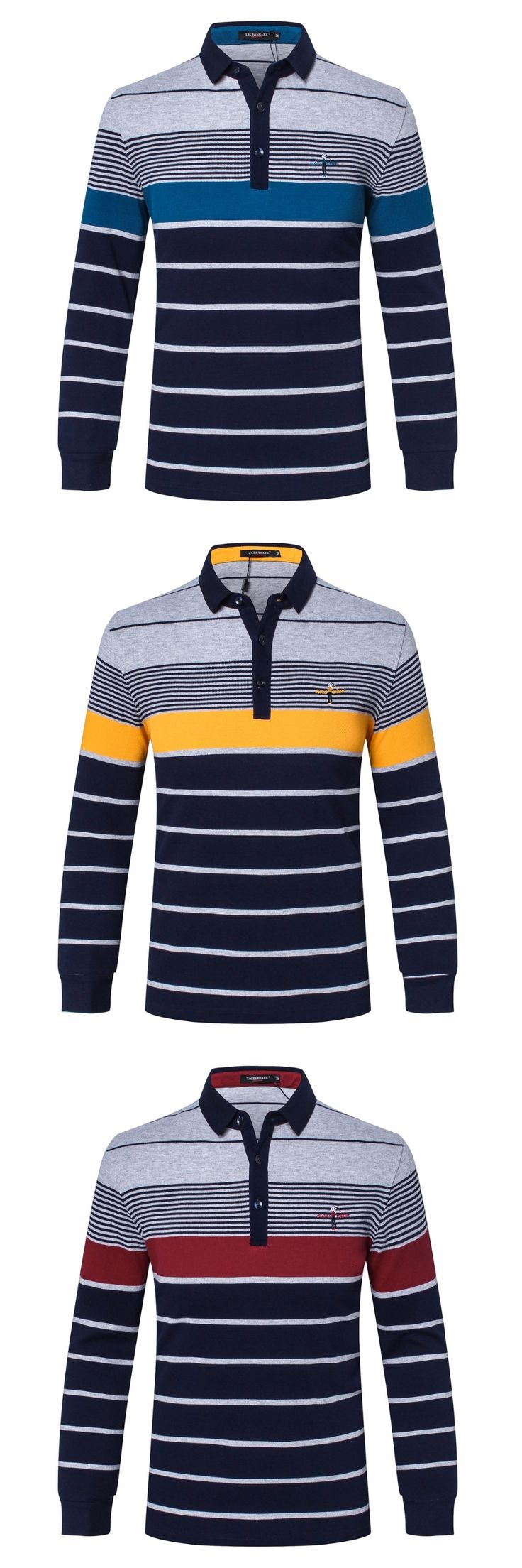polo shirt men Tace&shark Brand clothing long sleeve cotton Men's Polo shirt long sleeve lapel stripe embroidery Polo shirt