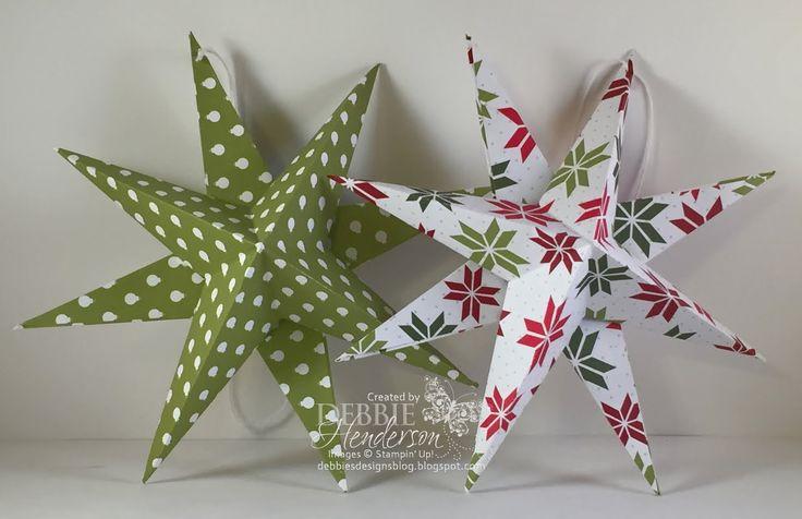 YouTube Video. 3D Star made with Stampin' Up! Designer Paper. Debbie Henderson, Debbie's Designs.