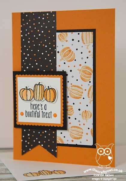 handmade Halloween card from The Crafty Owl blog of Joanne James ... black and white with orange ... three panels of different dimensions form the design ... nothing scary here ... Stampin' Up!