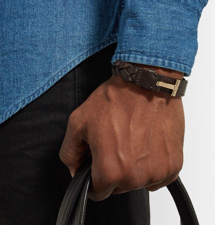 Tom Ford Nashville Mens Braided Leather Bracelet, Rust Brown
