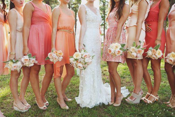 mix and match peach bridesmaid dresses | W+E Photographie #wedding