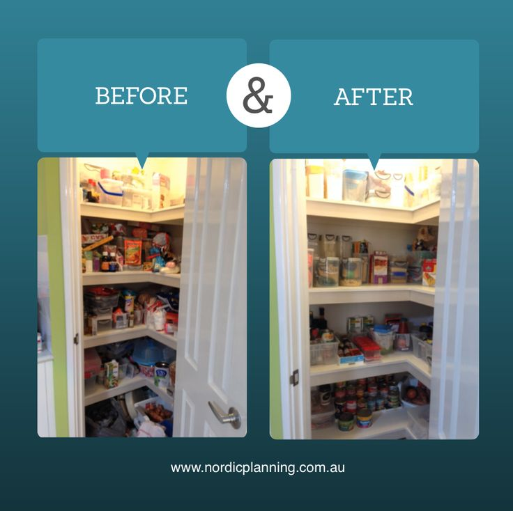 Before & After: Out of control pantry with expired goods and no order was decluttered, condensed and neatly organised in no time.  Kaarin, Professional Organiser at Nordic Planning in Perth