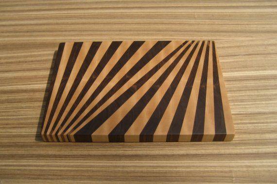 Fan Pattern cutting board.  Materials: walnut and hard maple