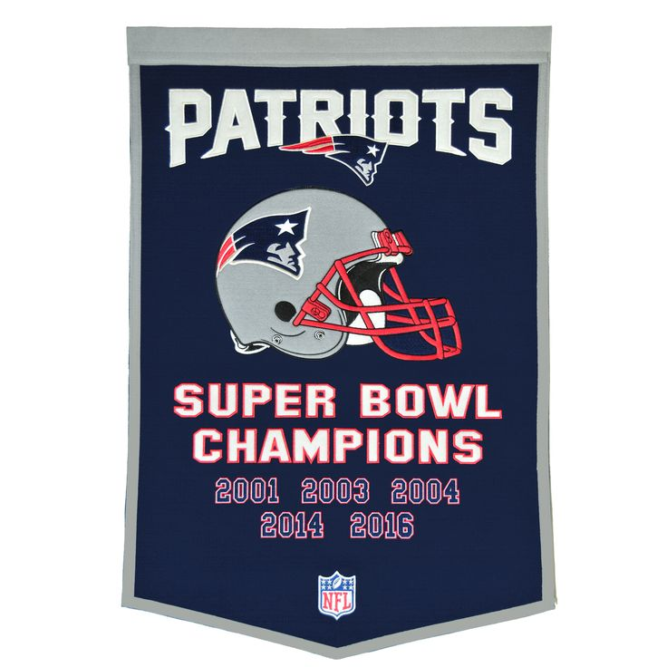 """This beautifully embroidered 24"""" x 38"""" """"Dynasty"""" banner commemorates the Super Bowls and NFL Championships won by the New England Patriots. This unique banner design celebrates the team's dynasty."""