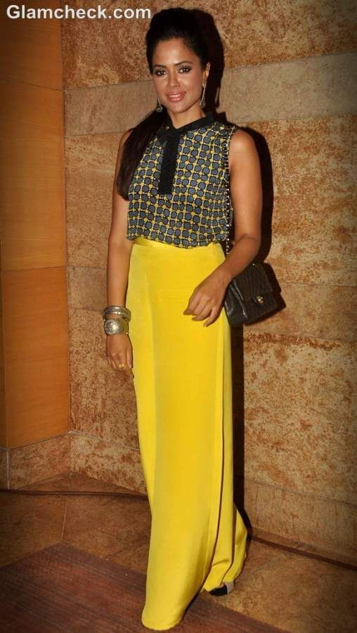 Sameera Reddy looked stunning in a Marni cropped top paired with yellow high-waisted pants