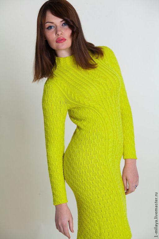 теплые вязаные платья спицами своими руками модадром