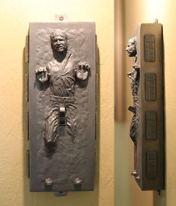 Naughty Han Solo Frozen In Carbonite Light Switch. Geeky Star Wars #bachelorette gift idea.