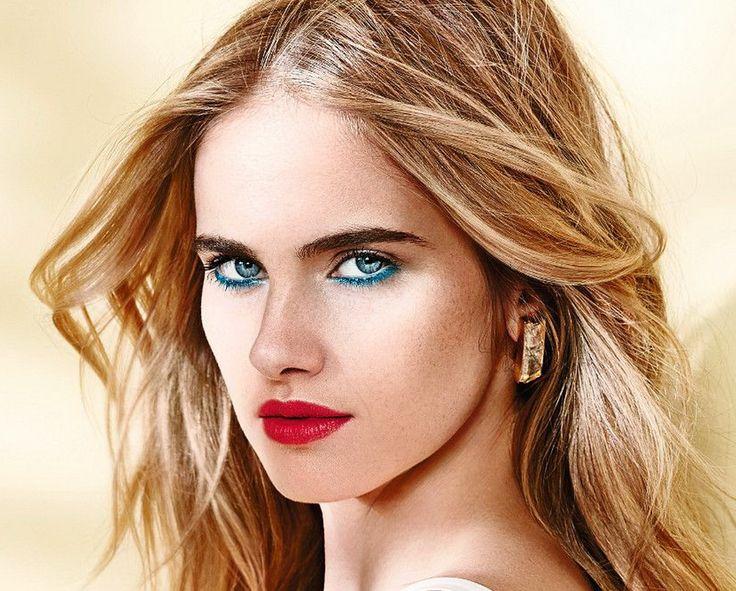 Летний макияж глаз. Бирюзовый в сочетании с красной помадой