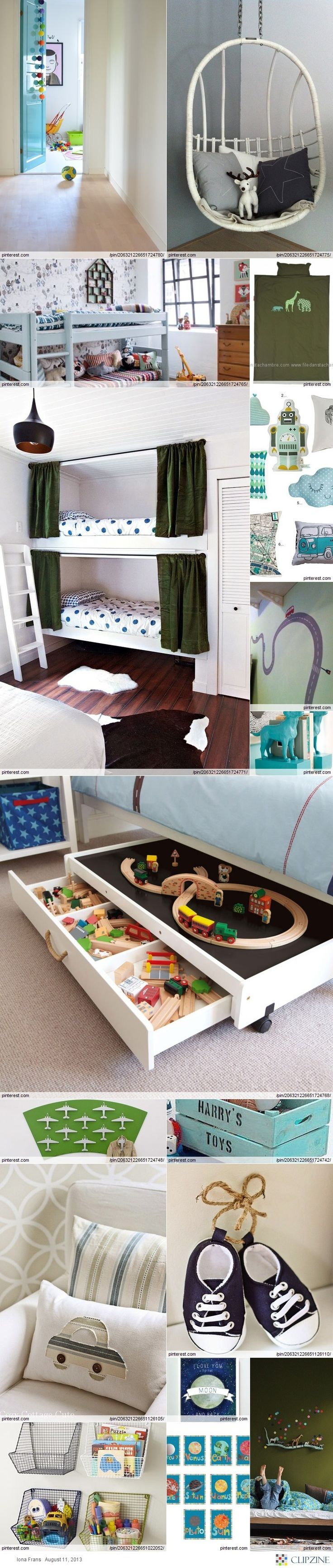little boys room- I really like the under the bed train storage. We should look for something like that for Ethan's Thomas & Dinosaur Train toys.