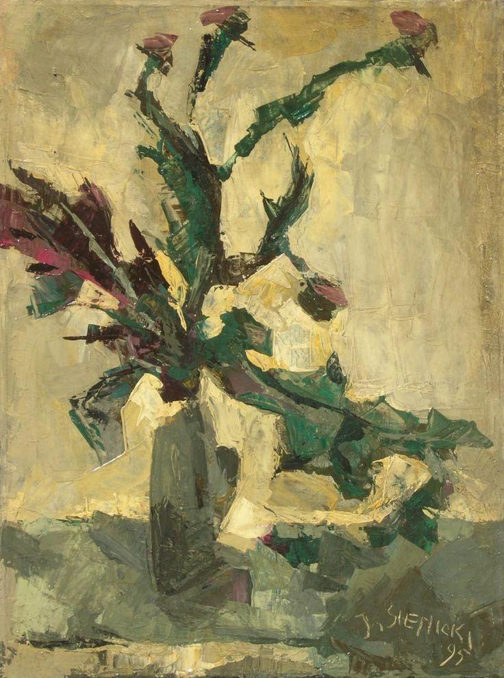 Jacek SIENICKI,Kwitnący oset , olej, płótno, 79,5 x 59,5 cm