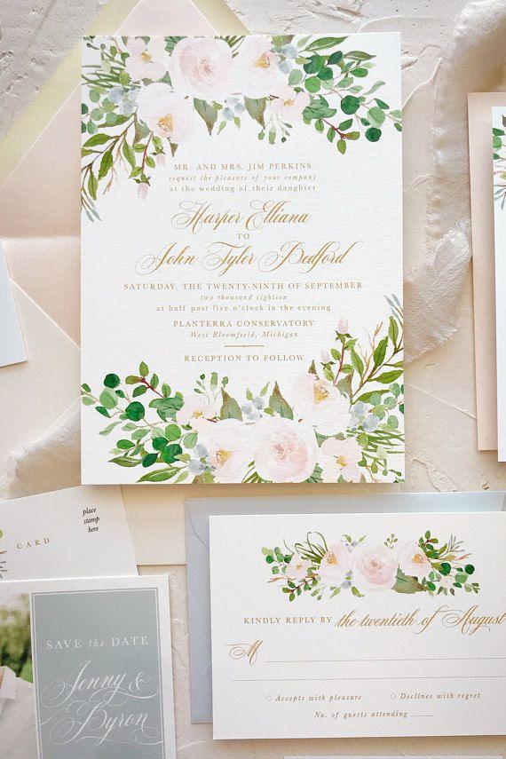 Blush Floral Wedding Invitation Set Watercolor Wedding Floral