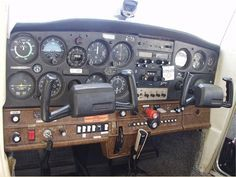 Cessna 152 cockpit...Very thankful that I was much lighter and narrow when I did my flight training.