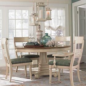 Attractive Beachy Dining Room With Ivory Table Chairs    Moultrie Park Round Dining  Table By Bassett Nice Look