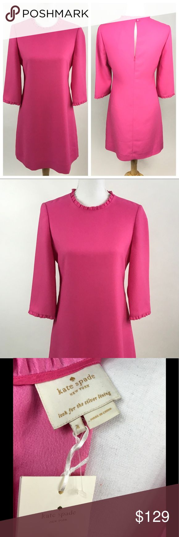 "KATE SPADE NWT PINK SHIFT DRESS SIZE 4 SMALL NWT Kate Spade Dizzy shift dress in bright pink, color is most similar to the stock photos as my photos are dark. This is a perfect versatile day to night dress. Dress it up or down by swapping your shoes and accessories. Bracelet length sleeves and a body skimming shape make this dress super flattering. Mini ruffle at collar and sleeves hem. Length 35.5"", shoulders 13 7/8"", chest 18"", sleeve 17 3/8"". Comes with an extra pink domed button. Hidden…"