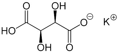 This is the chemical structure for cream of tartar or potassium bitartrate. - Jü, Public Domain