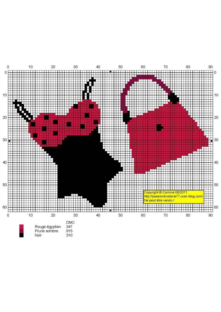 point de croix sac & maillot de bain - cross stitch bag and swimsuit