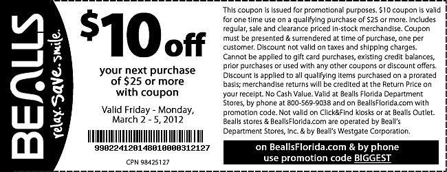 Save $10 at Bealls stores