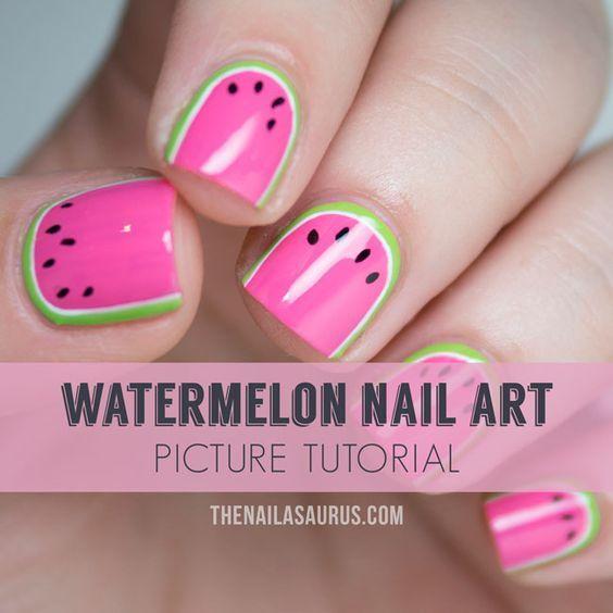 Easy Watermelon Nail Art Tutorial