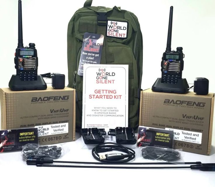 Everything included in the World Gone Silent deluxe kit, including ham radios or amateur radios, antennas, battery packs, priogramming cavble, backpack, manual and subscription #CellPhoneAntenna