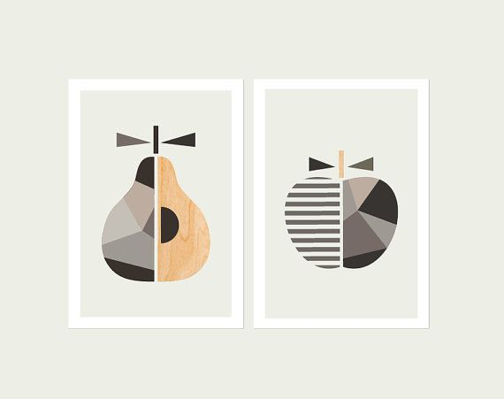 Geometric Apple and Pear (Greys) , Series of Two. Scandinavian Art, Apple print, Pear Print,Modern Nursery Art.